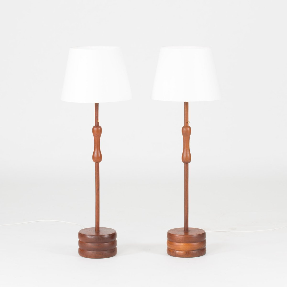 Solid teak floor lamps 1950s set of 2 for sale at pamono for 1950s floor lamps