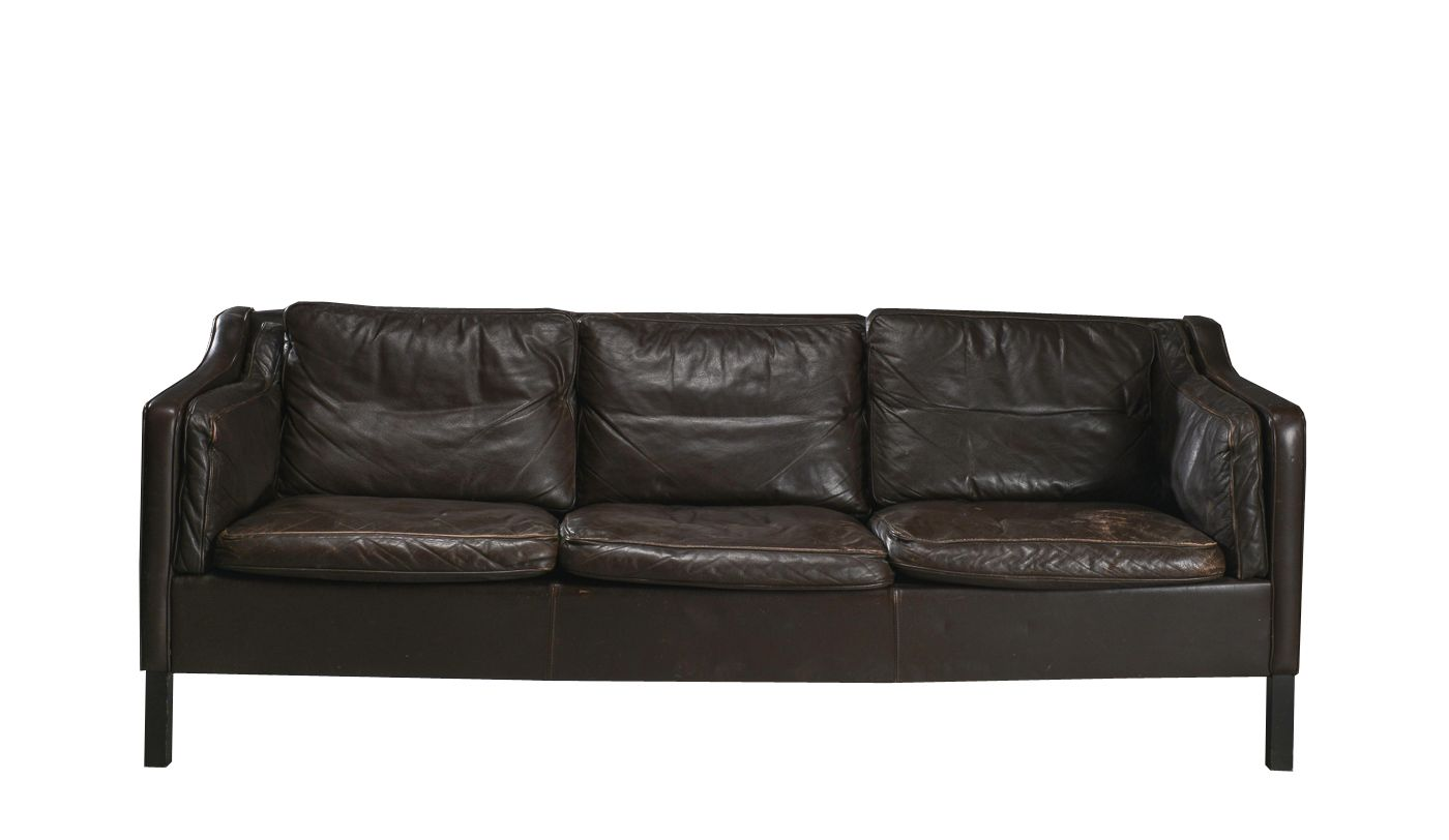Mid century modern brown leather three seater sofa for for Mid century modern leather sofa