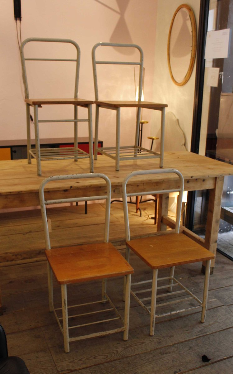 Industrial Metal Chairs Set Of 4 For Sale At Pamono