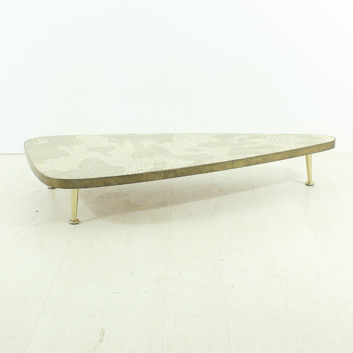 Table basse vintage blanche et grise 1950s en vente sur - Table basse grise et blanche ...