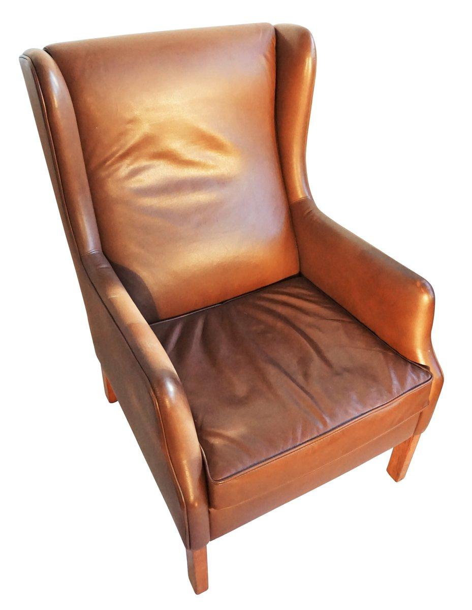 d nischer brauner leder ohrensessel bei pamono kaufen. Black Bedroom Furniture Sets. Home Design Ideas
