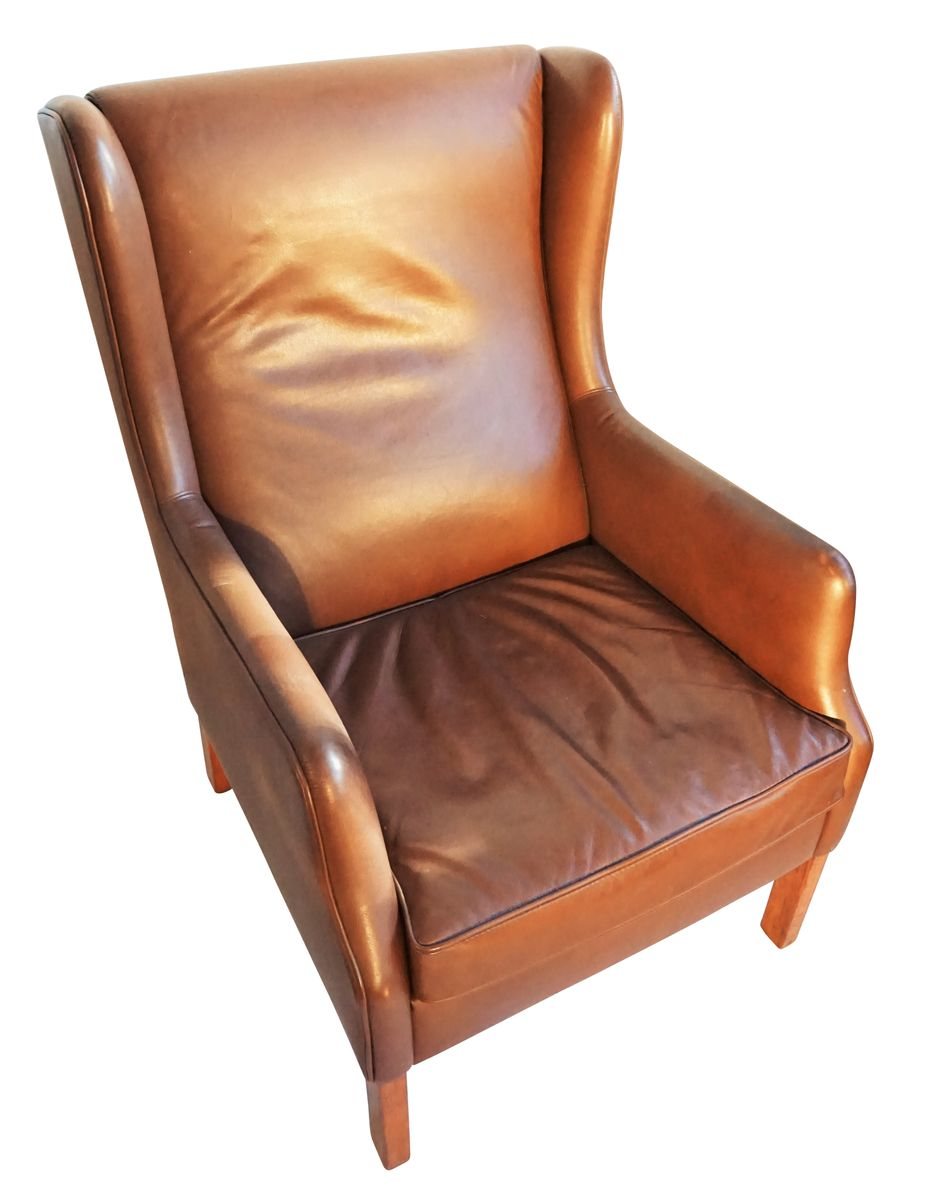 Danish Brown Leather Wingback Chair 3. Previous