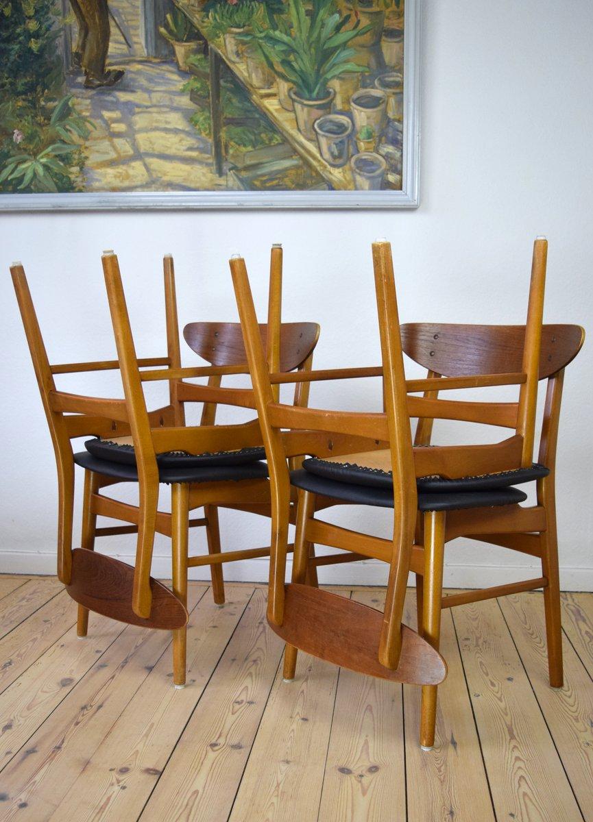 Danish Teak U0026 Beech Dining Chairs, 1960s, Set Of 4