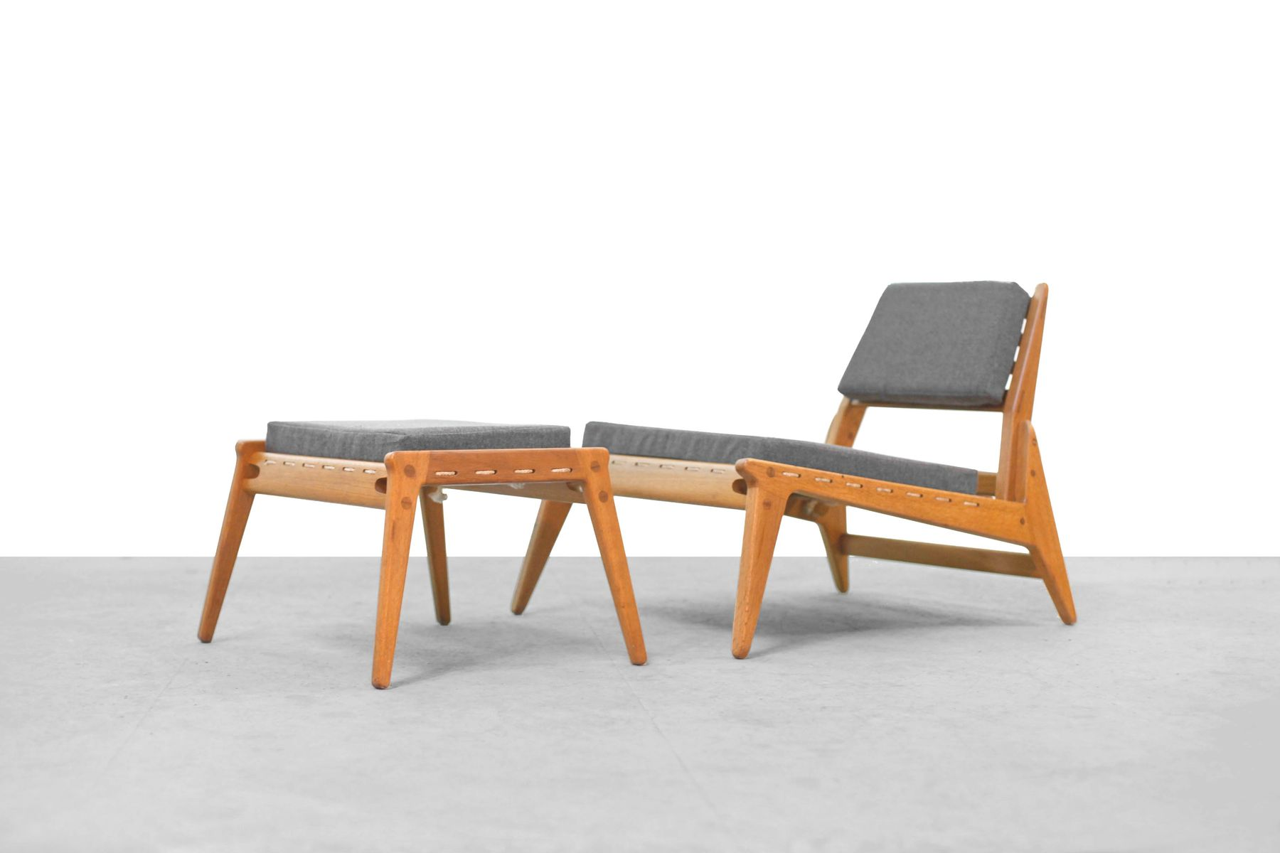 Mid Century German Modern Hunting Chair & Ottoman 1960s for sale