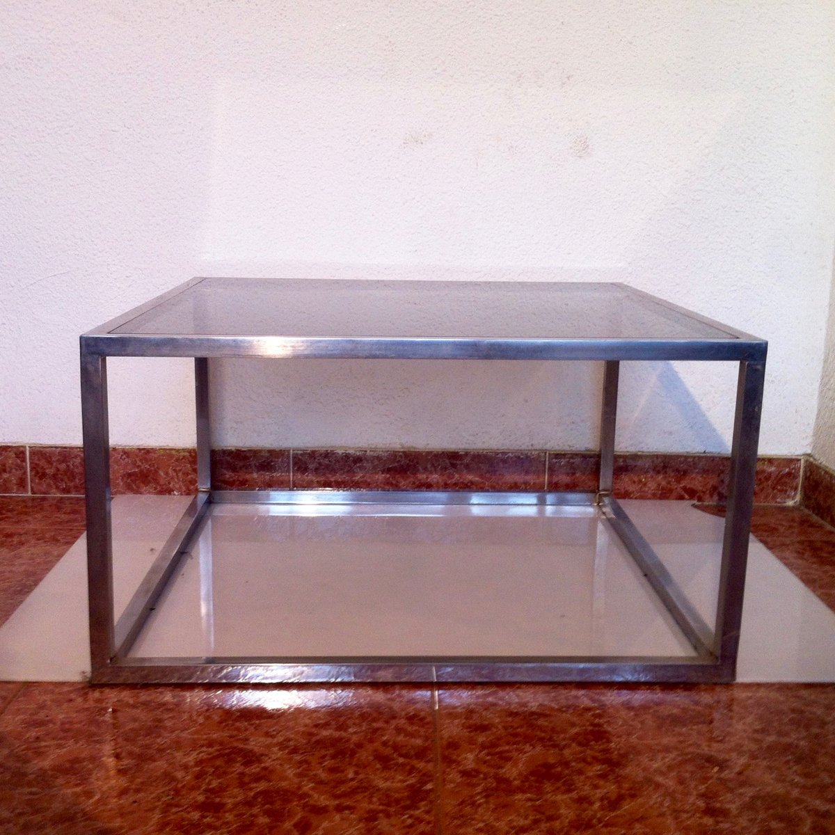 Vintage Square Smoked Glass Aluminum Coffee Table 1960s For Sale At Pamono