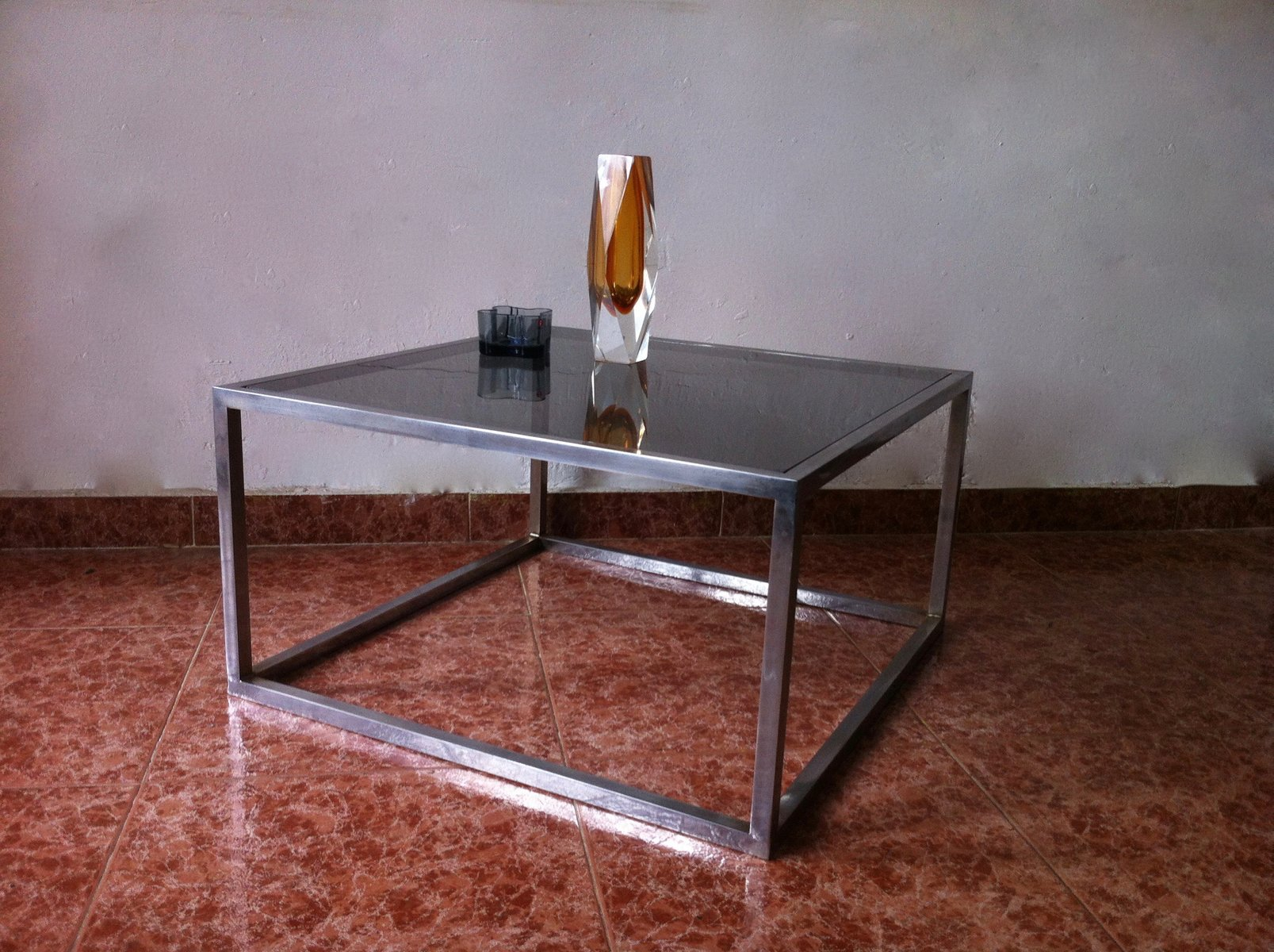 Vintage square smoked glass aluminum coffee table 1960s for vintage square smoked glass aluminum coffee table 1960s for sale at pamono geotapseo Gallery