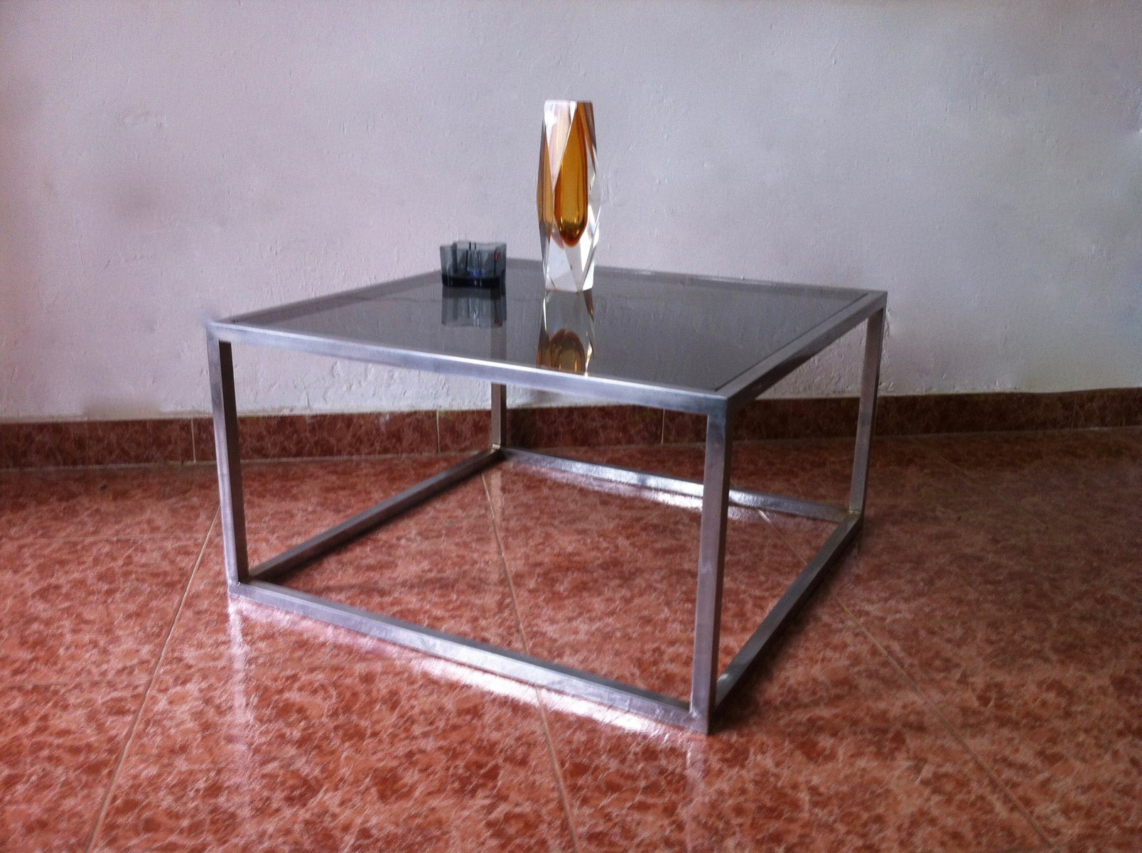 Vintage Square Smoked Glass & Aluminum Coffee Table 1960s for
