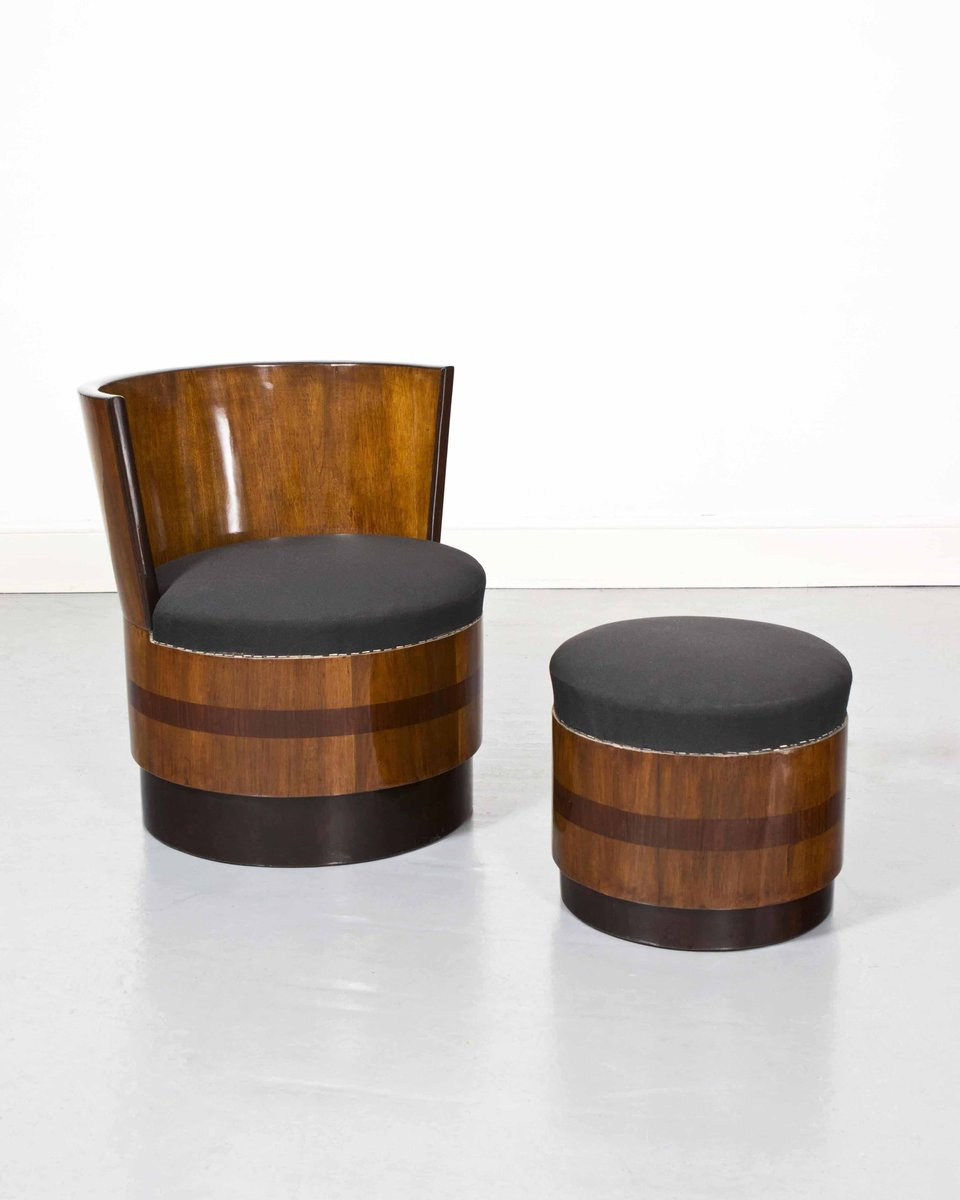 Vintage Art Deco French Barrel Chairs With Footstools Set Of 2