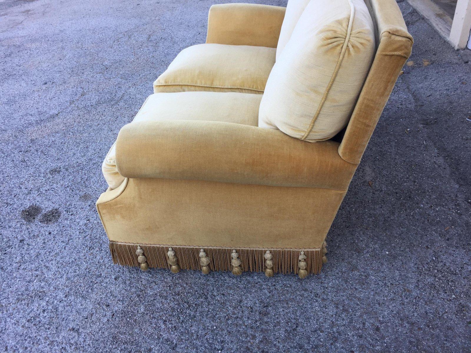canap en velours beige clair 1968 en vente sur pamono. Black Bedroom Furniture Sets. Home Design Ideas