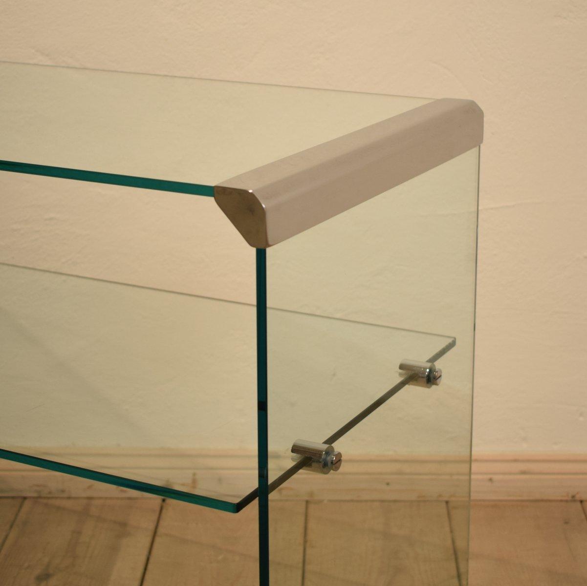 glas konsolentisch von galotti radice 1980er bei pamono. Black Bedroom Furniture Sets. Home Design Ideas