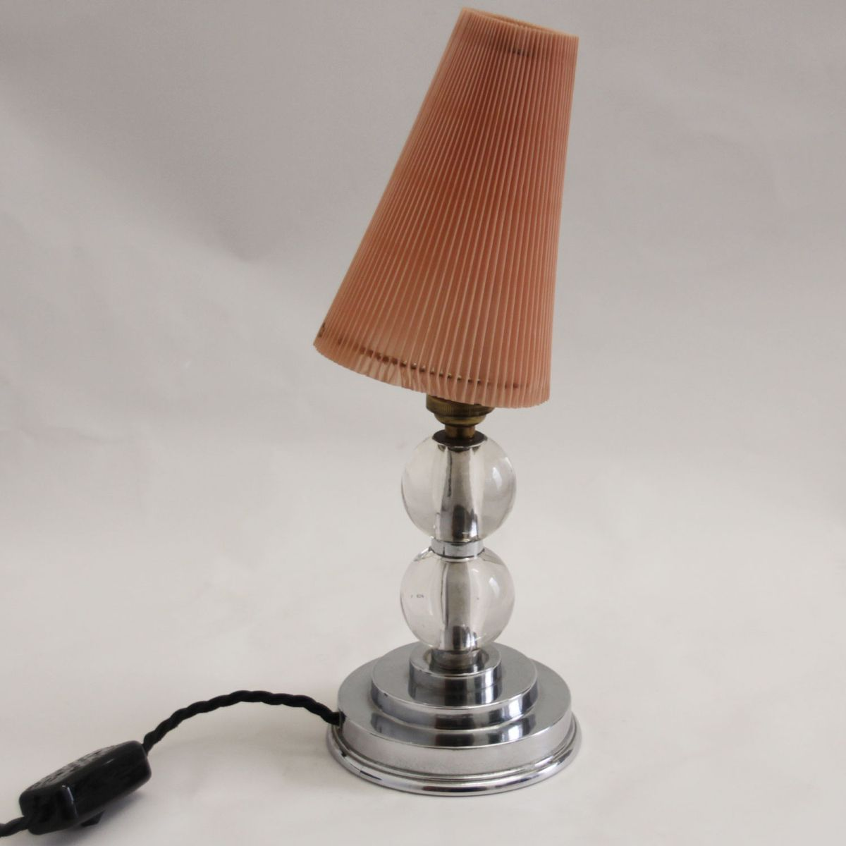 Mid century modern table lamp with glass stem for sale at for Floor lamp glass stem