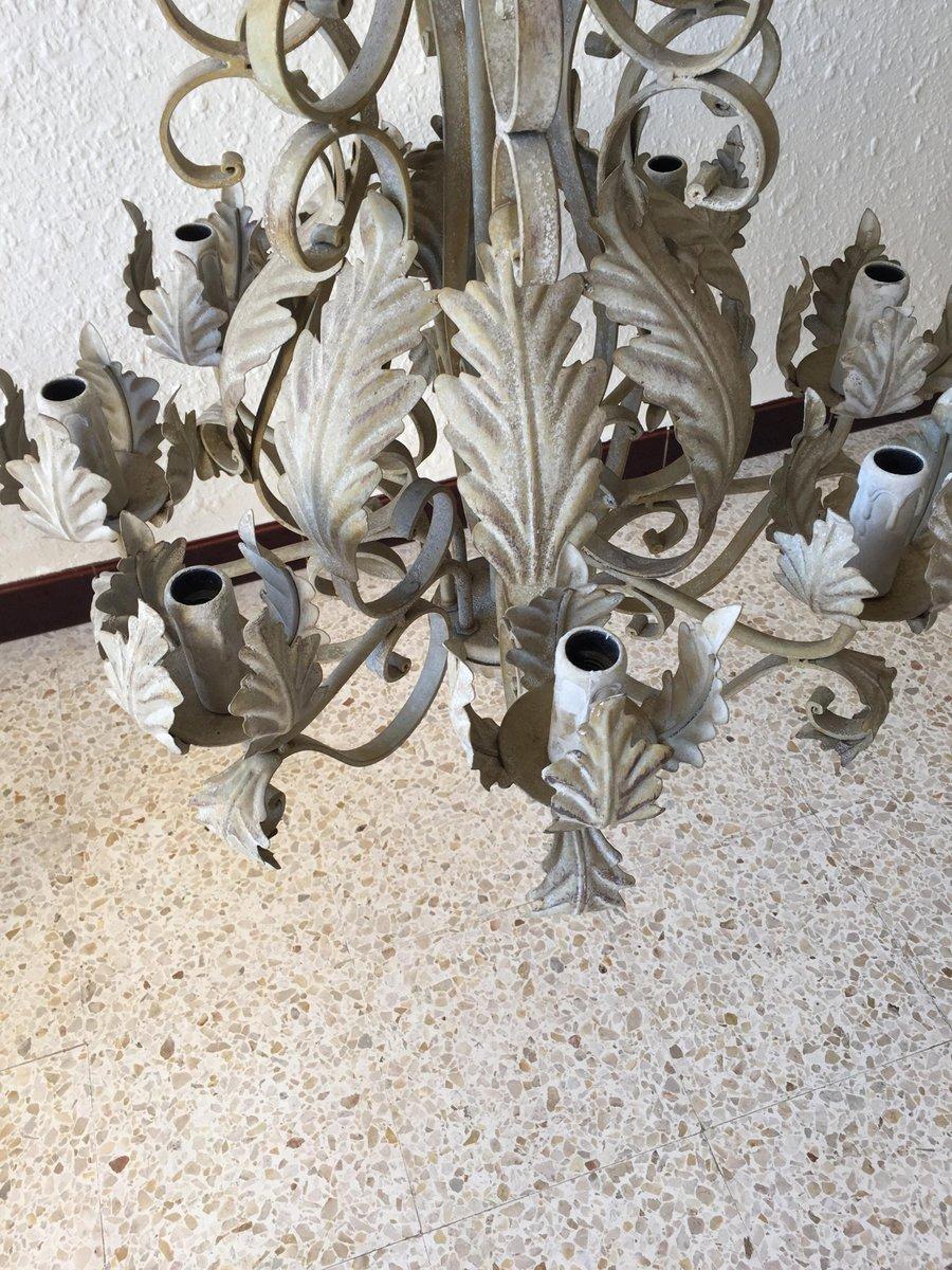 Lampadario vintage in ferro battuto grigio in vendita su for Lampadario vintage
