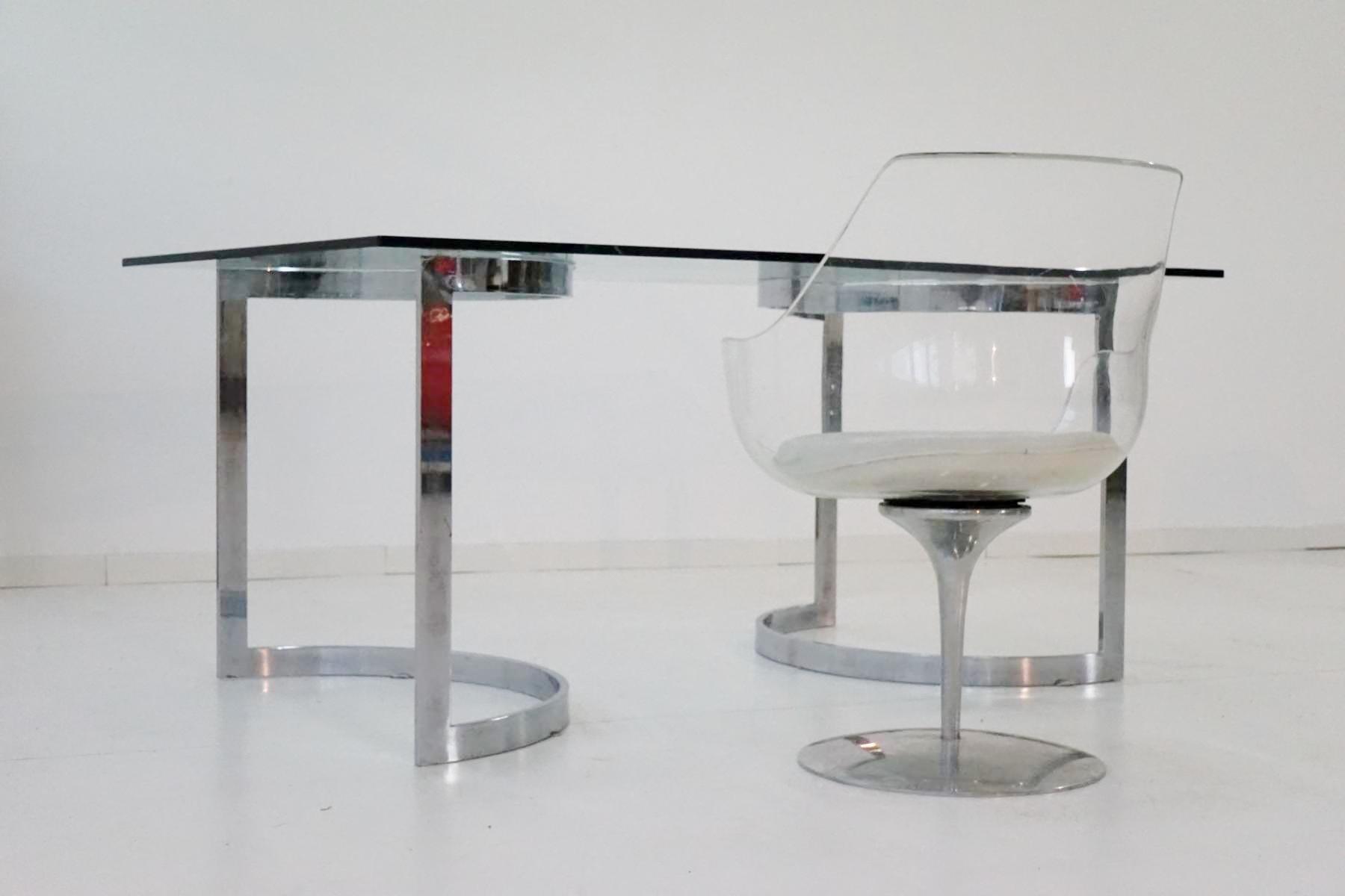 space age chrom glas esstisch von milo baughman 1970er bei pamono kaufen. Black Bedroom Furniture Sets. Home Design Ideas