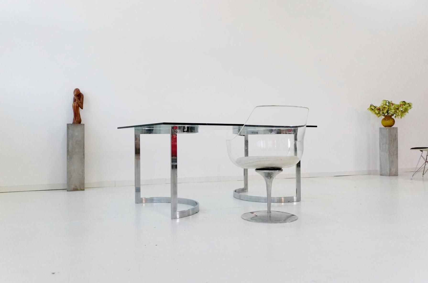 Space Age Chrome & Glass Dining Table by Milo Baughman 1970s for