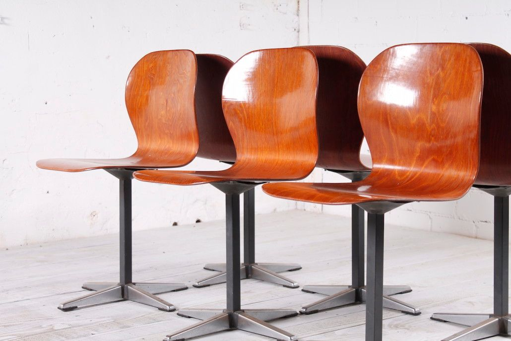 German Pagwood Chairs 1960s Set of 6 for sale at Pamono