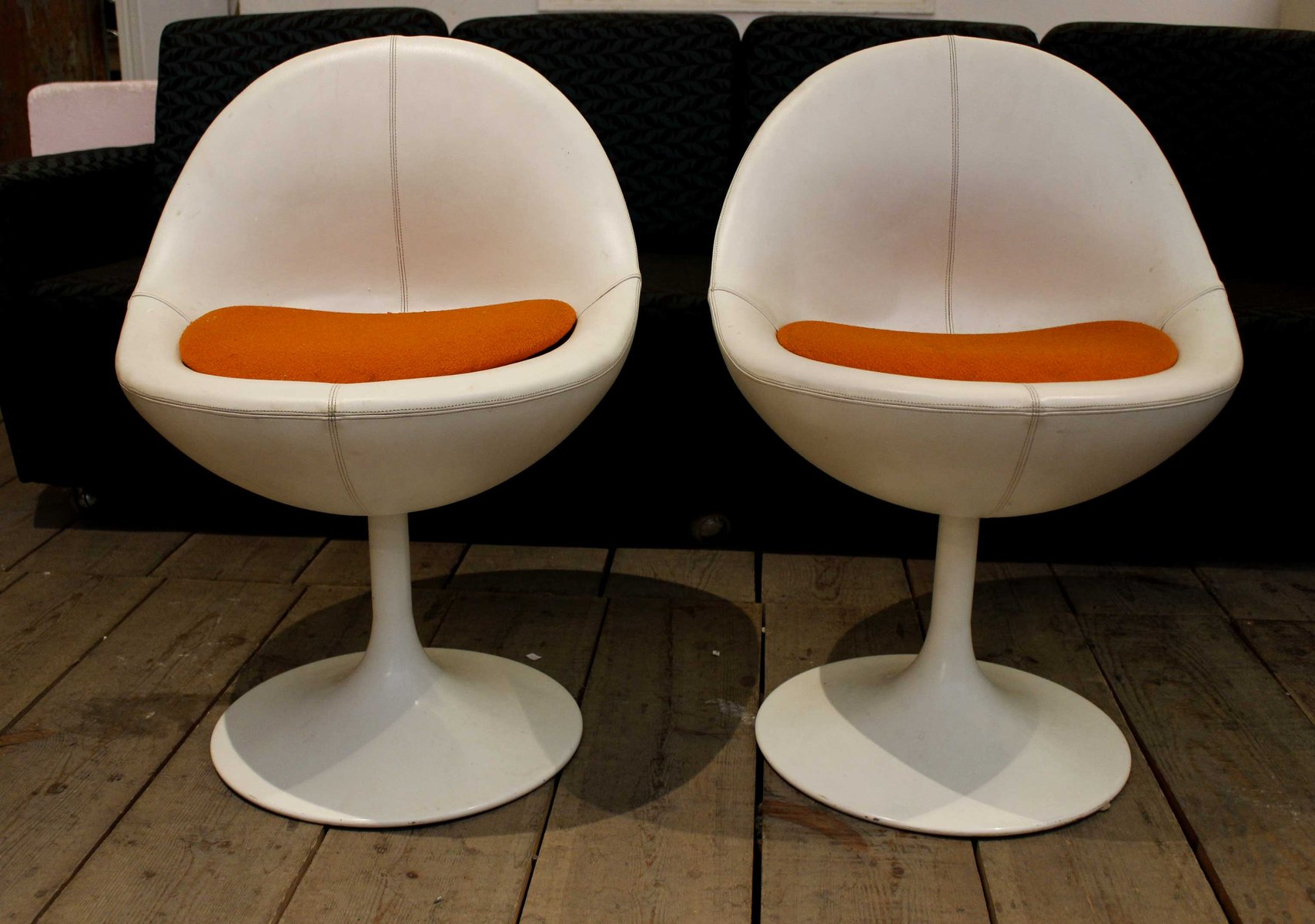 Vintage White Leather Chairs from Johanson Design Set of 2 for