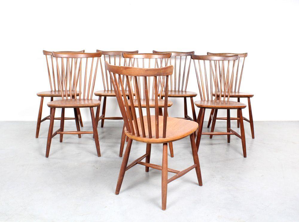 Swedish Teak Dining Chairs By Yngve Ekström For Nesto Set Of 8