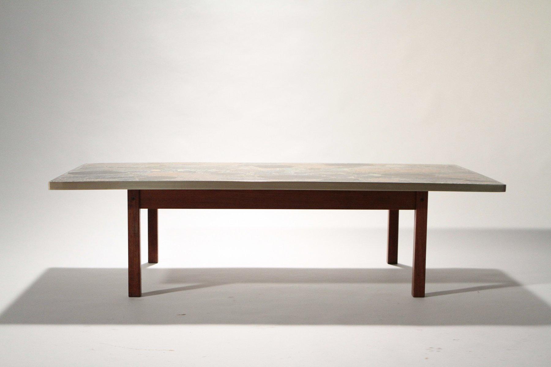 gro er tisch aus stein messing von torbj rn afdal 1960er bei pamono kaufen. Black Bedroom Furniture Sets. Home Design Ideas