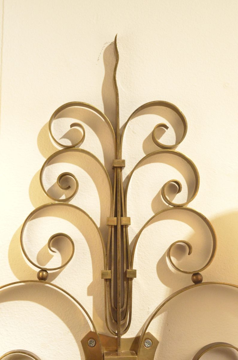 Art Deco Brass Wall Sconces : Art Deco Sculptural Brass Wall Sconces, 1930s, Set of 3 for sale at Pamono