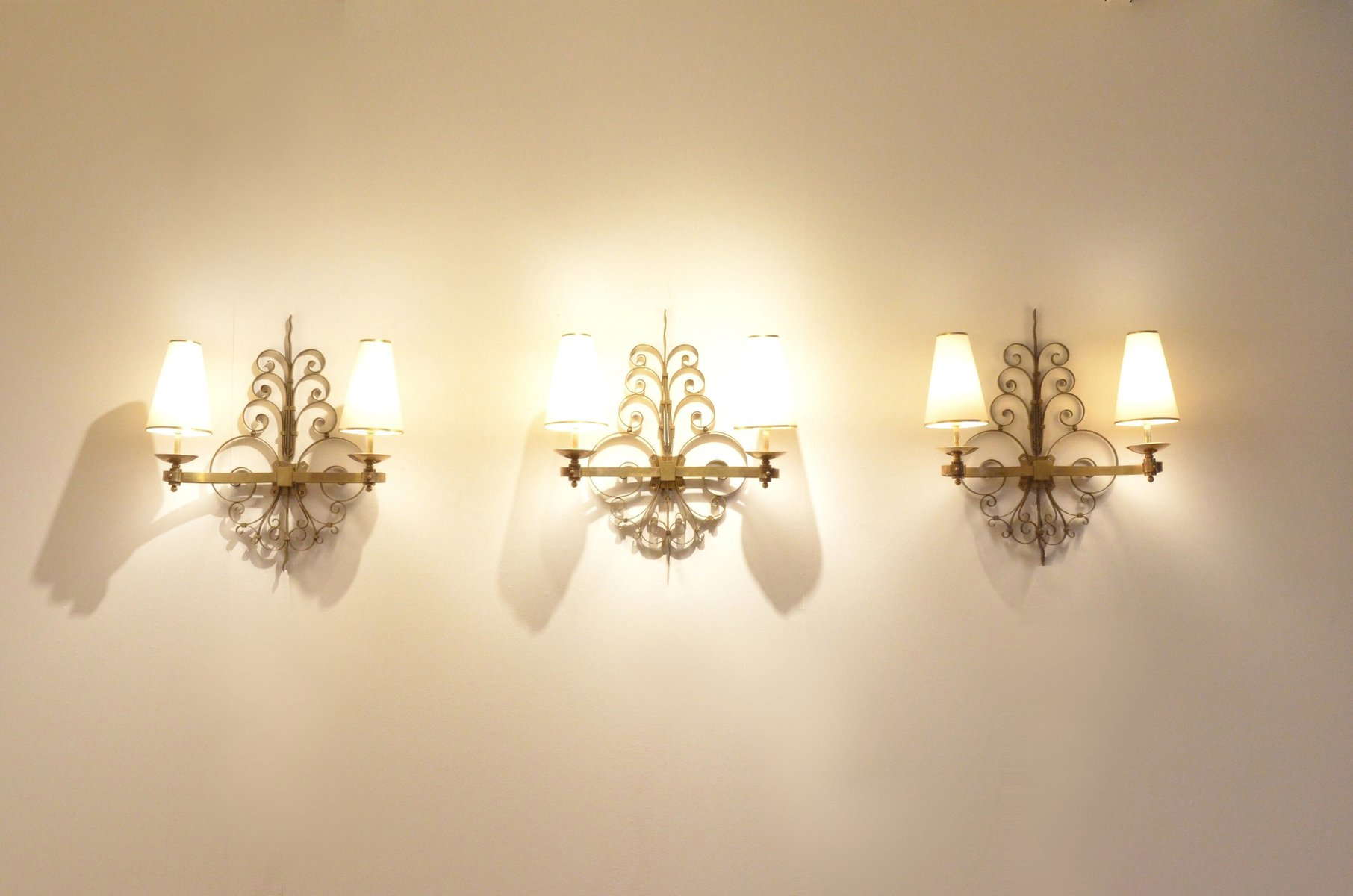 Art Deco Sculptural Brass Wall Sconces 1930s Set Of 3