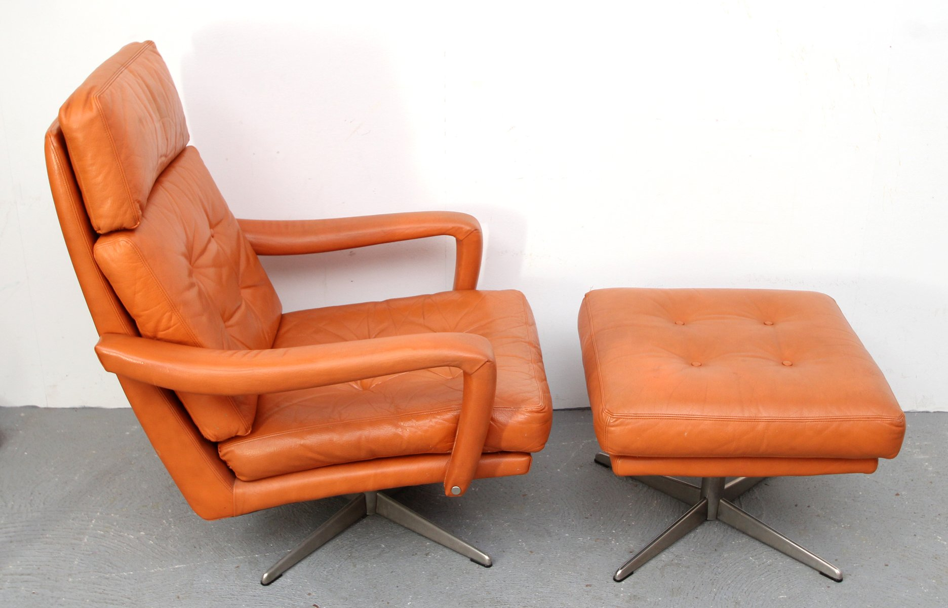 Cognac Leather Lounge Chair & Ottoman 1970s for sale at