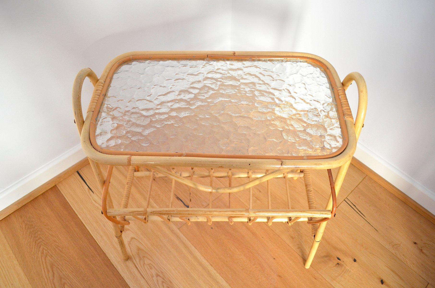 deutscher bambus beistelltisch mit zeitungsst nder 1950er. Black Bedroom Furniture Sets. Home Design Ideas