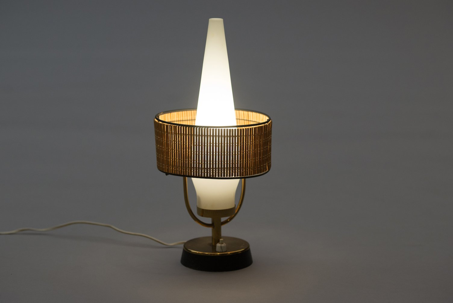 Vintage Italian Table Lamp With Frosted Glass Shade