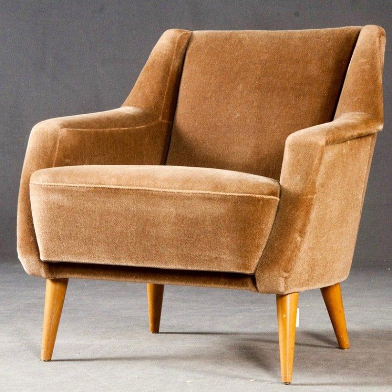 Large Brown Velvet Armchair 1950s