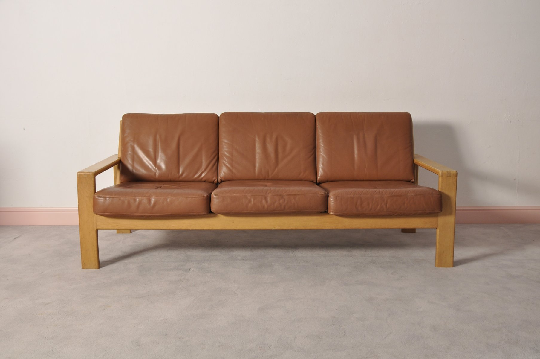 Vintage Scandinavian Leather Oak Three Seater Sofa For Sale At Pamono