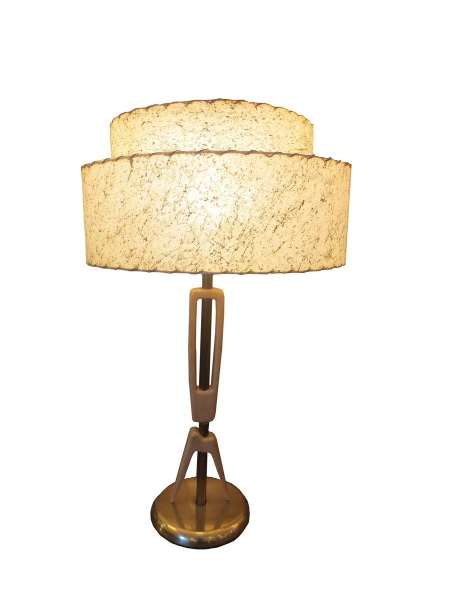 Mid-Century Sculptural Table Lamp with Leather Shade for ...