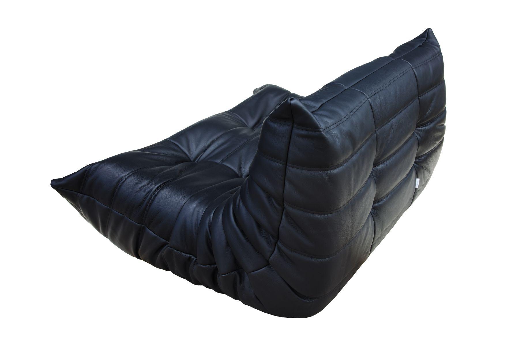 set de canap vintage togo noir en cuir par michel ducaroy pour ligne roset 1974 set de 5 en. Black Bedroom Furniture Sets. Home Design Ideas