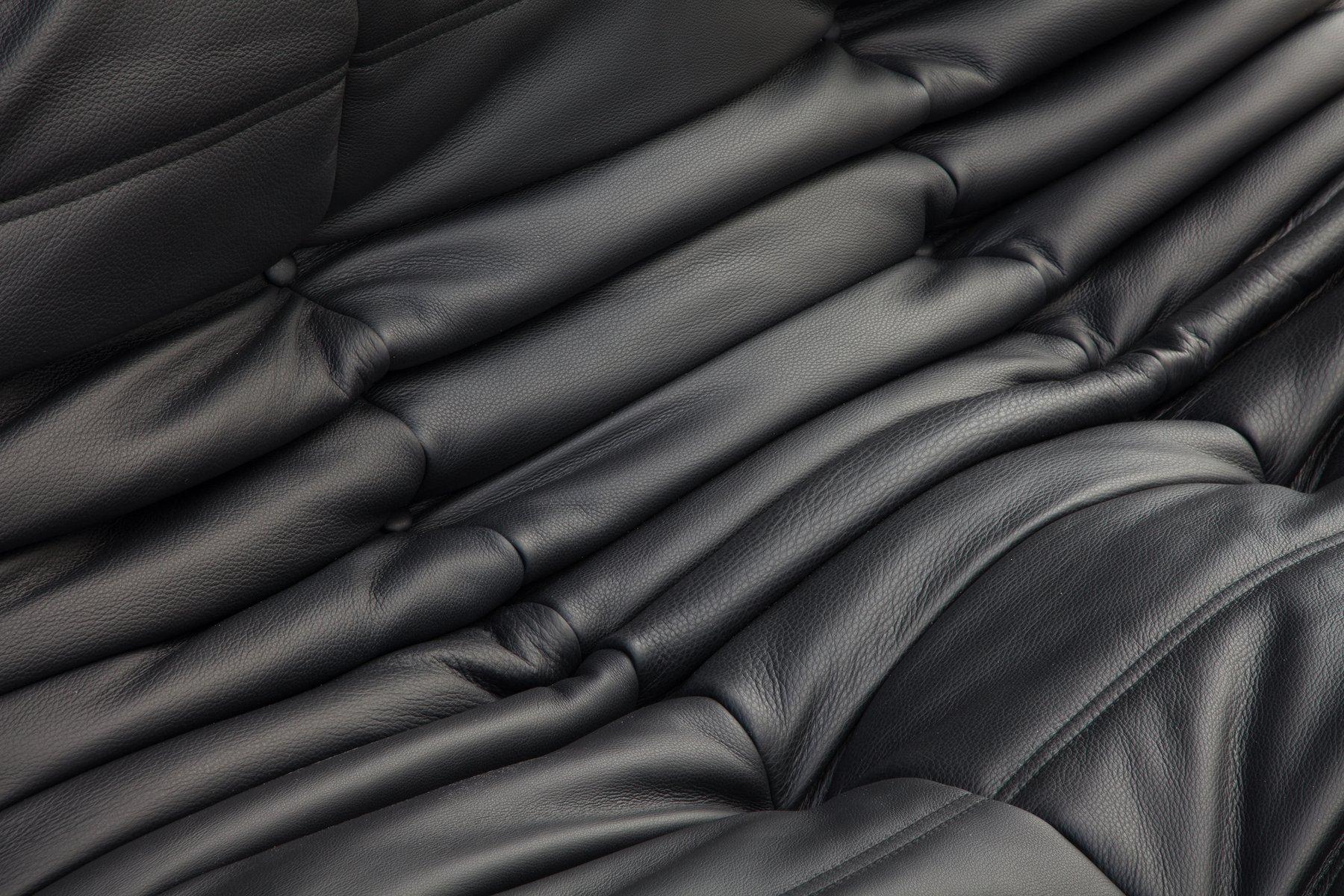 Vintage Black Leather Togo Sofa Set By Michel Ducaroy For