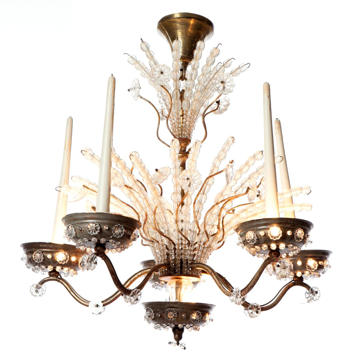 Ten light silver plated and crystal chandelier 1920s for sale at ten light silver plated and crystal chandelier 1920s for sale at pamono arubaitofo Gallery