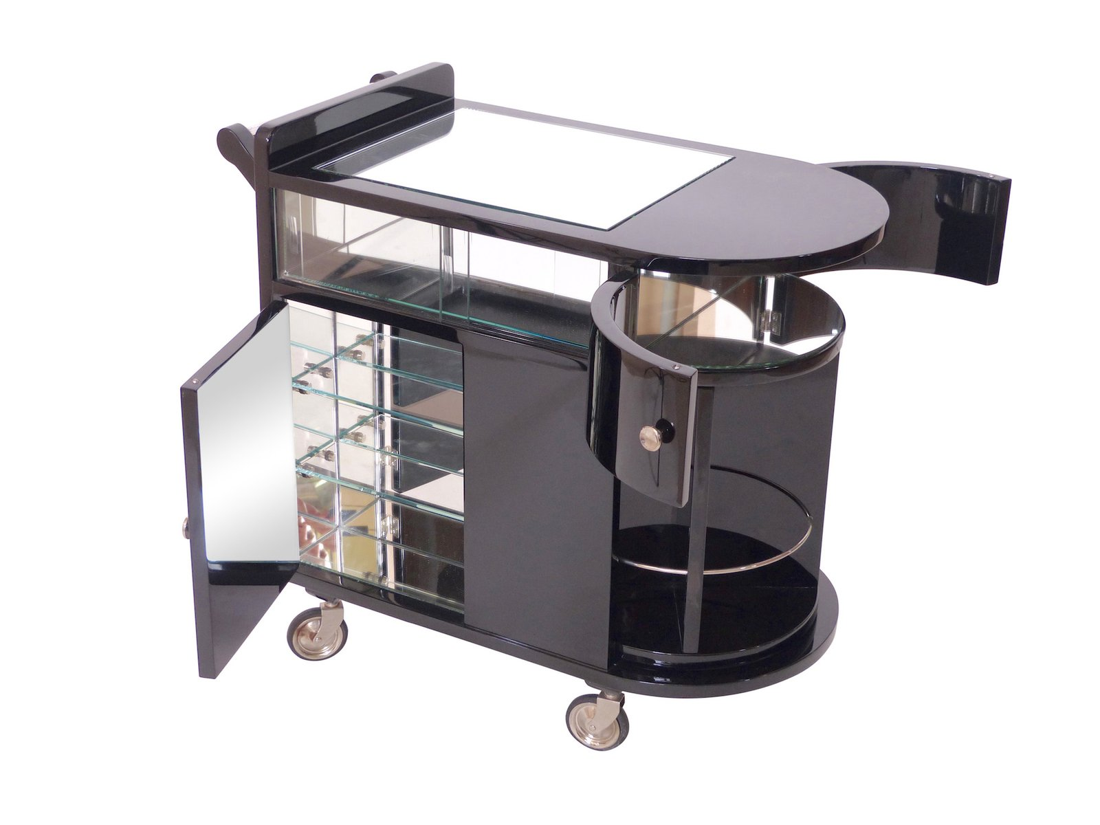 Black lacquered bar cart 1930s for sale at pamono - Table roulante design ...