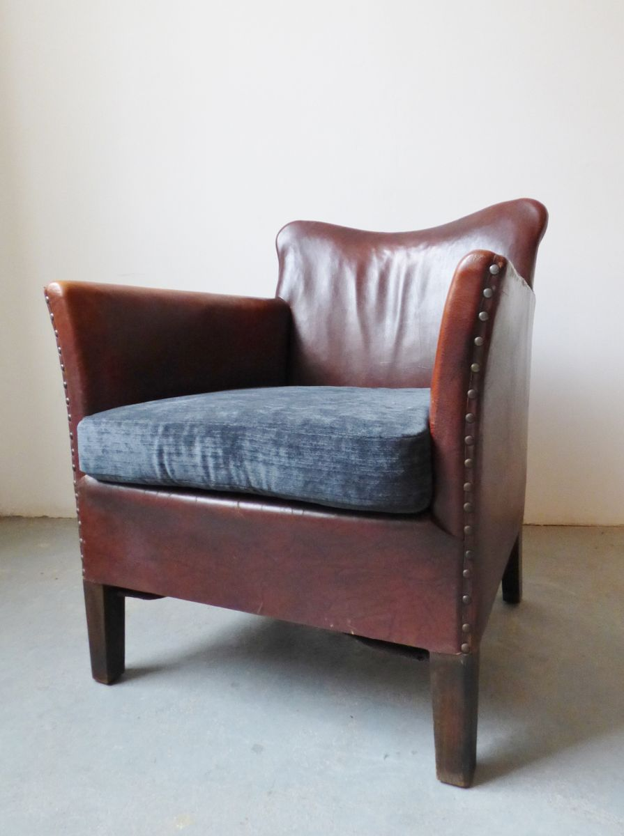 scandinavian leather club chair 1930s for sale at pamono. Black Bedroom Furniture Sets. Home Design Ideas
