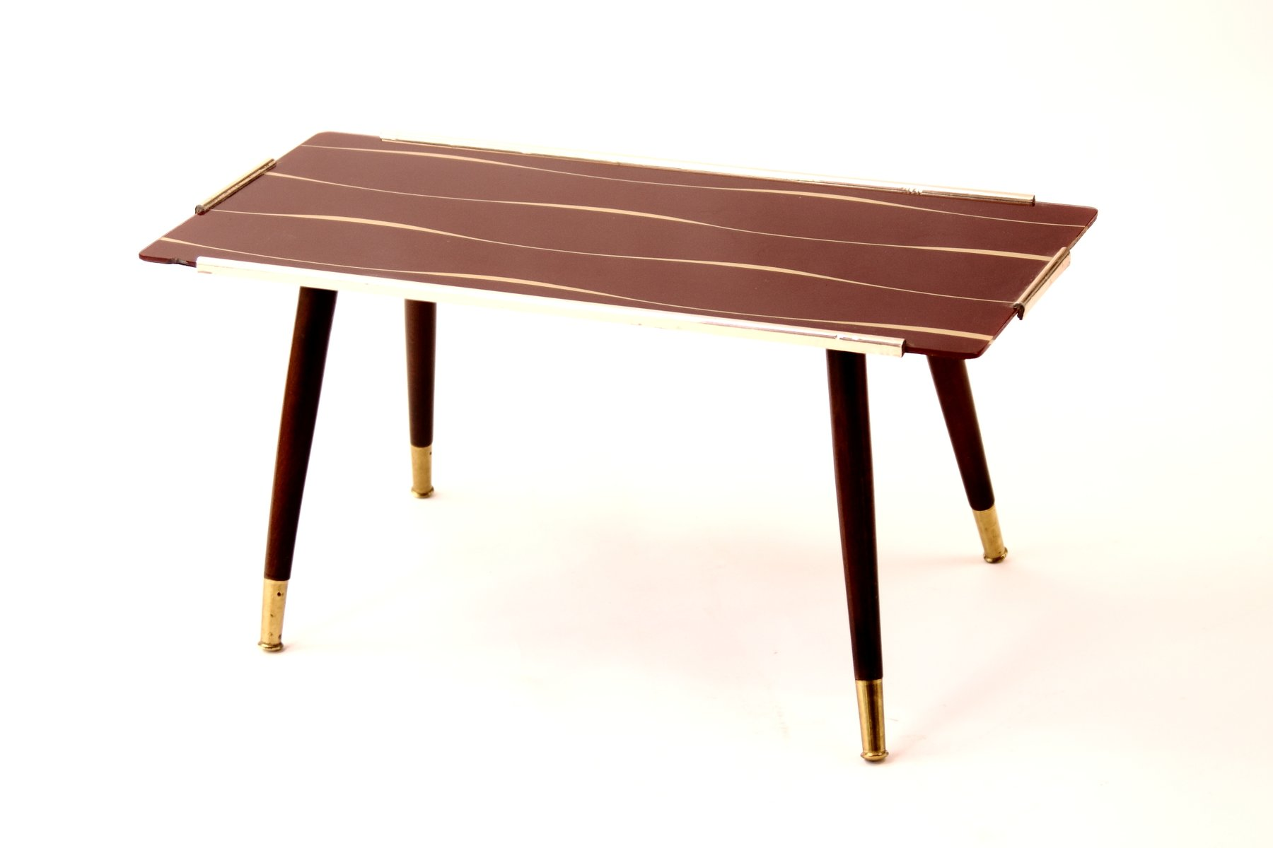 beistelltisch mit bedruckter glasplatte 1950er bei pamono. Black Bedroom Furniture Sets. Home Design Ideas