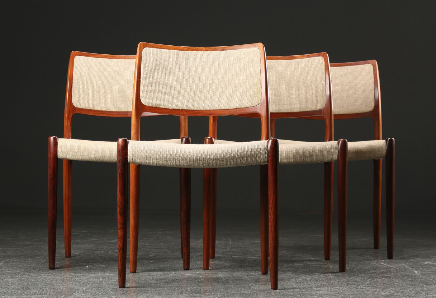 Model 80 Rosewood Dining Chairs By Niels Otto Møller For J.L. Møllers,  1960s, Set Of 4