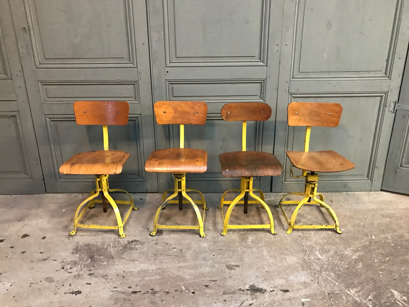 Vintage Desk Chairs from Atelier Bienaise Set of 4 for sale at Pamono