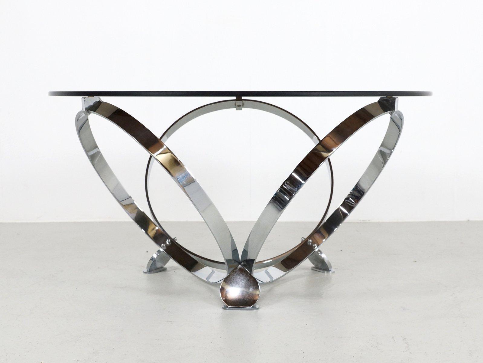 Runder Chrom und Glas Couchtisch von Knut Hesterberg