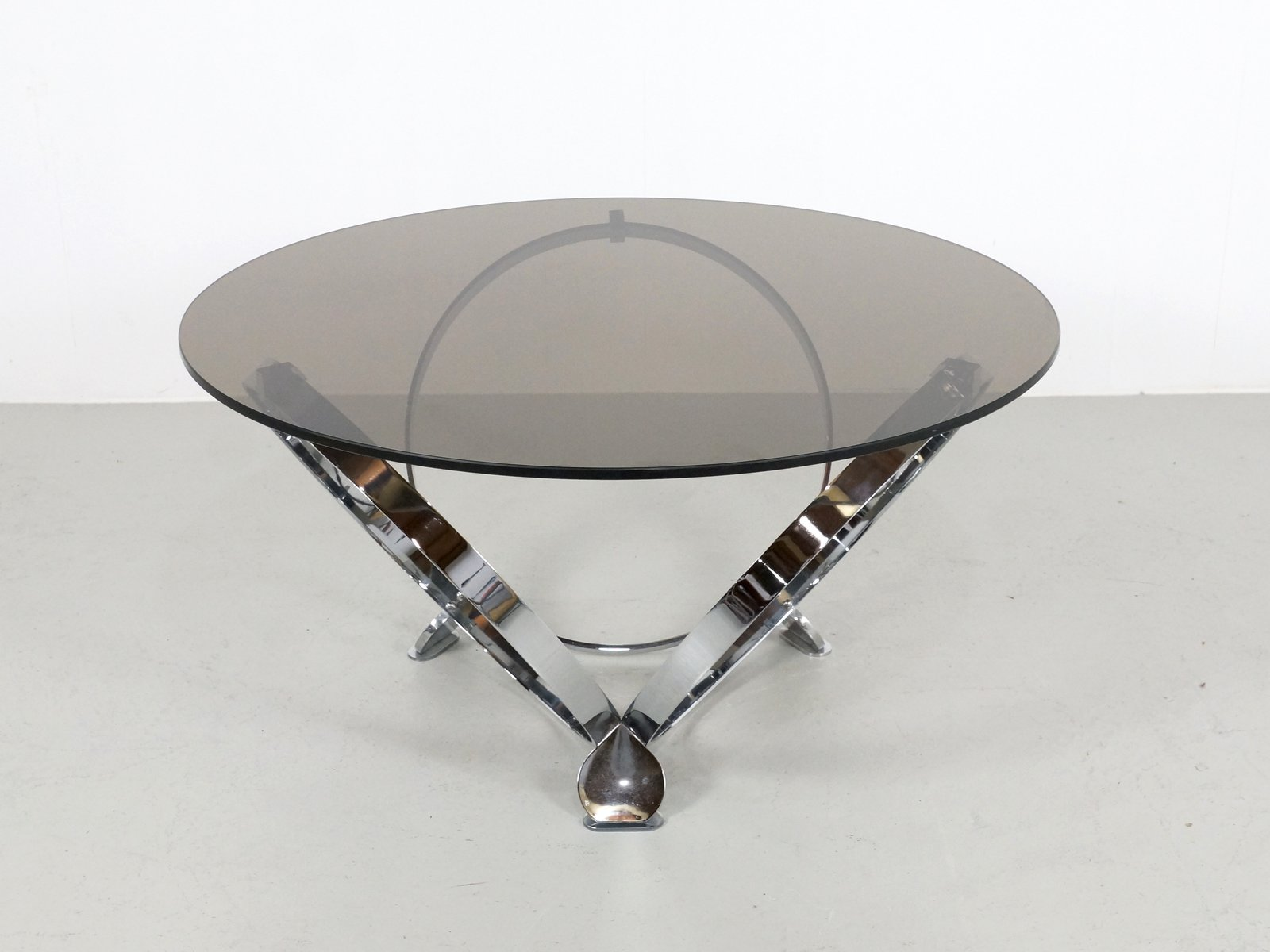 Chrome And Glass Round Coffee Table By Knut Hesterberg 1970s For Sale At Pamono