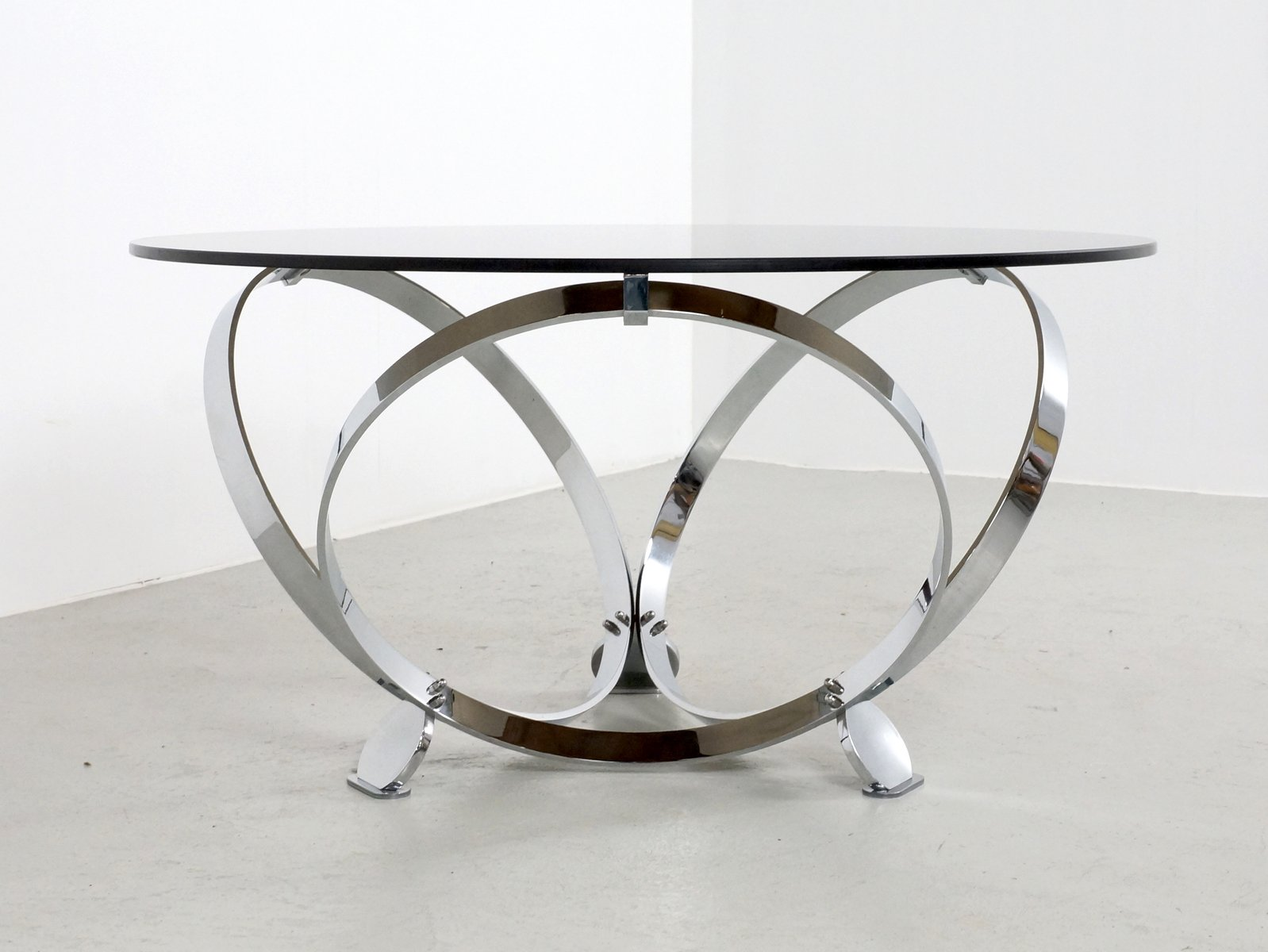 Chrome And Glass Round Coffee Table By Knut Hesterberg 1970s For