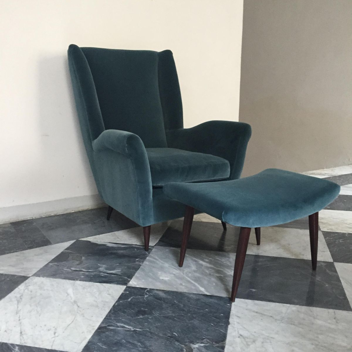 Mid Century Italian Armchair And Stool 1950s For Sale At