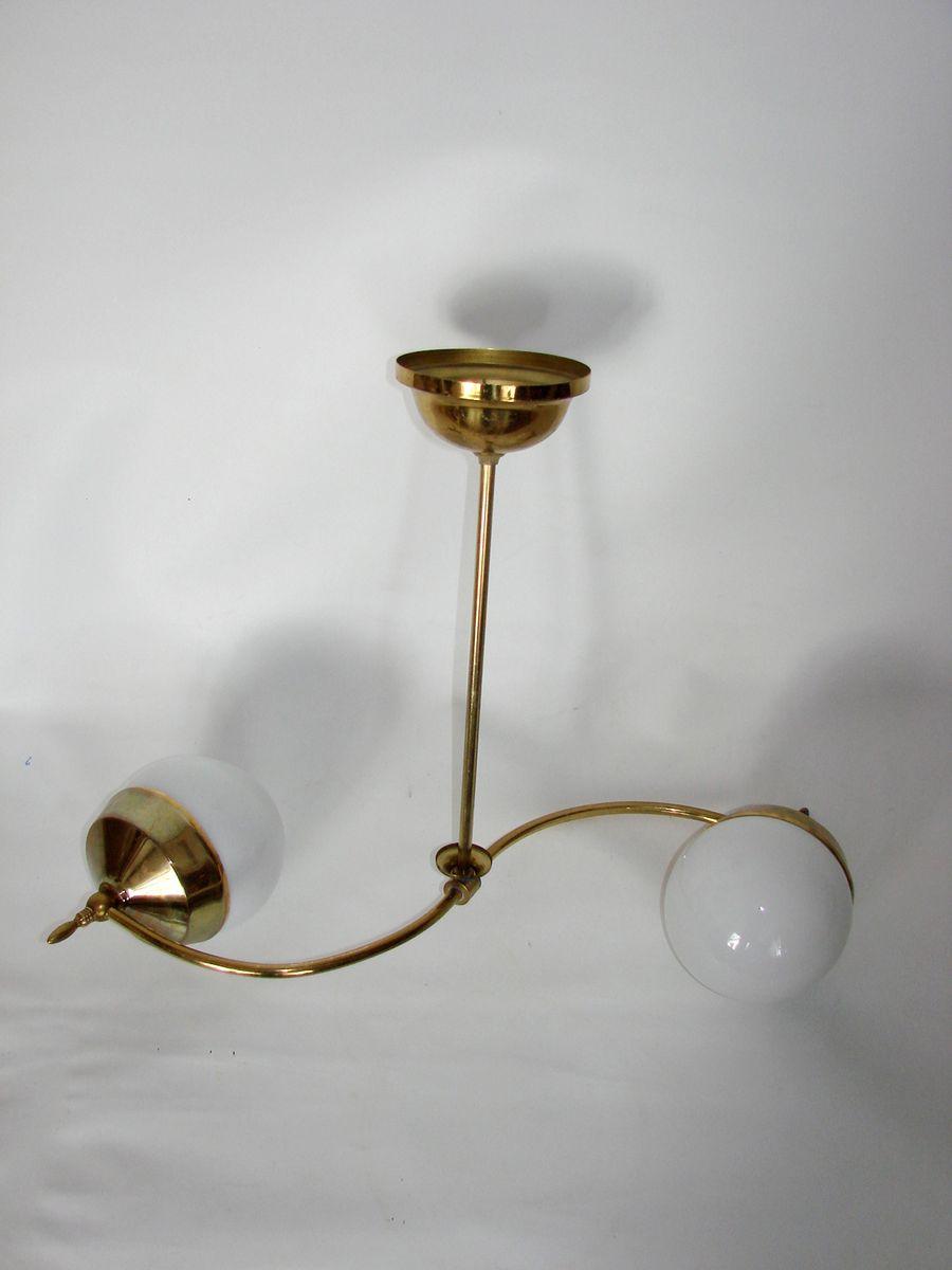 messing h ngelampe mit glas lampenschirmen 1960er bei. Black Bedroom Furniture Sets. Home Design Ideas