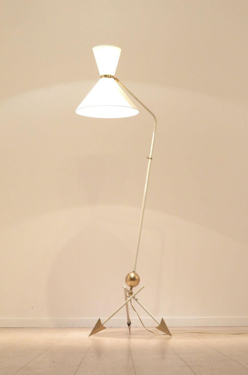midcentury french tripod floor lamp from kobis and laurence 1950s