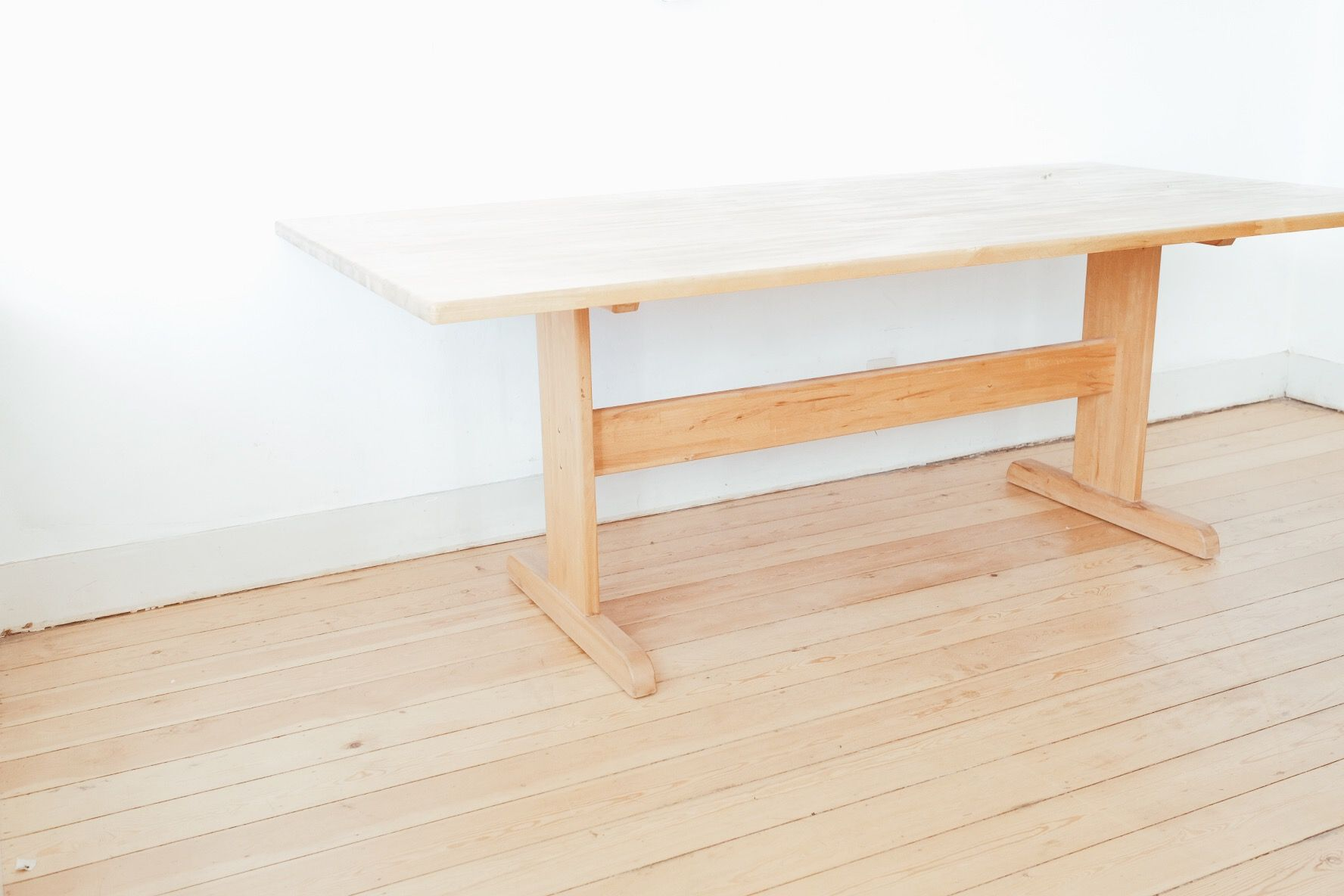 Scandinavian Beech Dining Table with Shaker Frame 1960s for sale