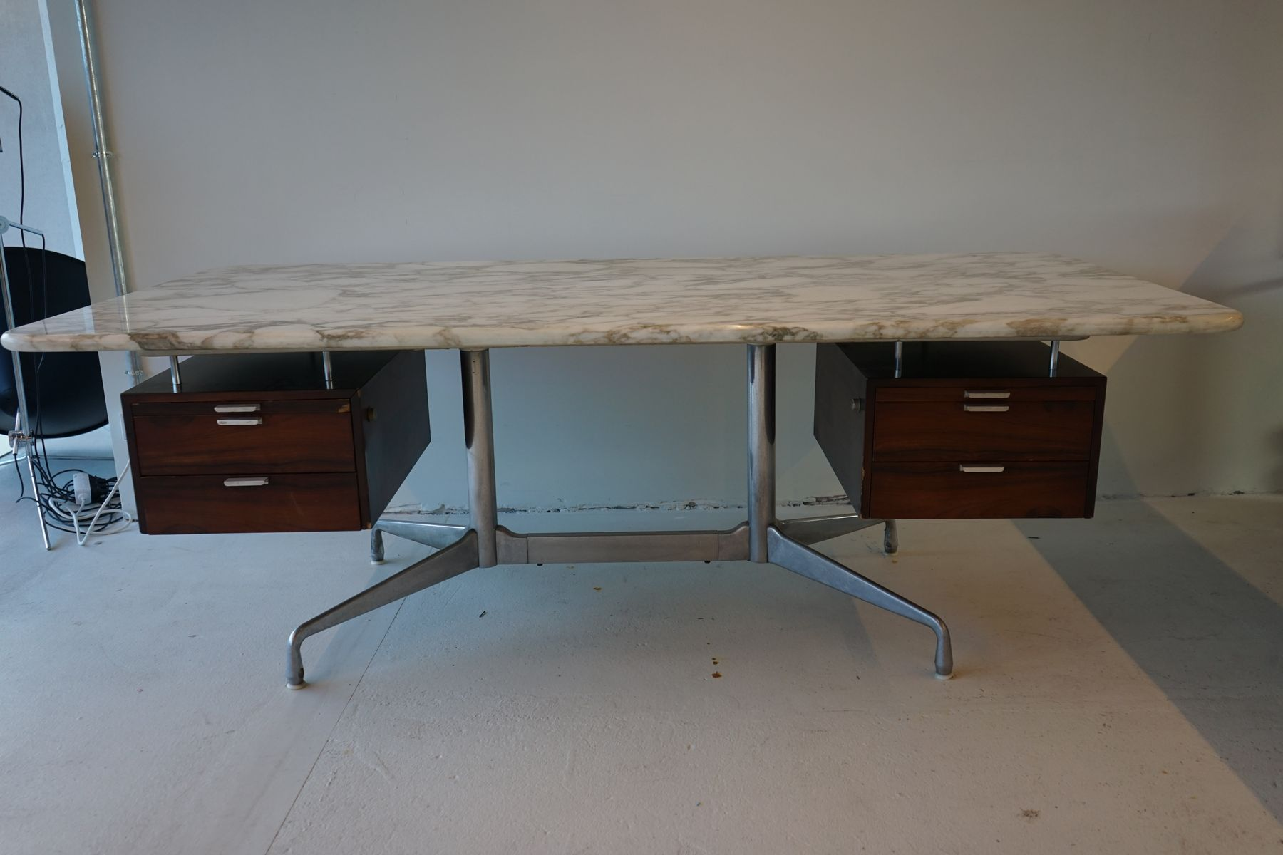 MidCentury Rosewood Marble Desk By Charles Ray Eames For Herman - Eames marble table