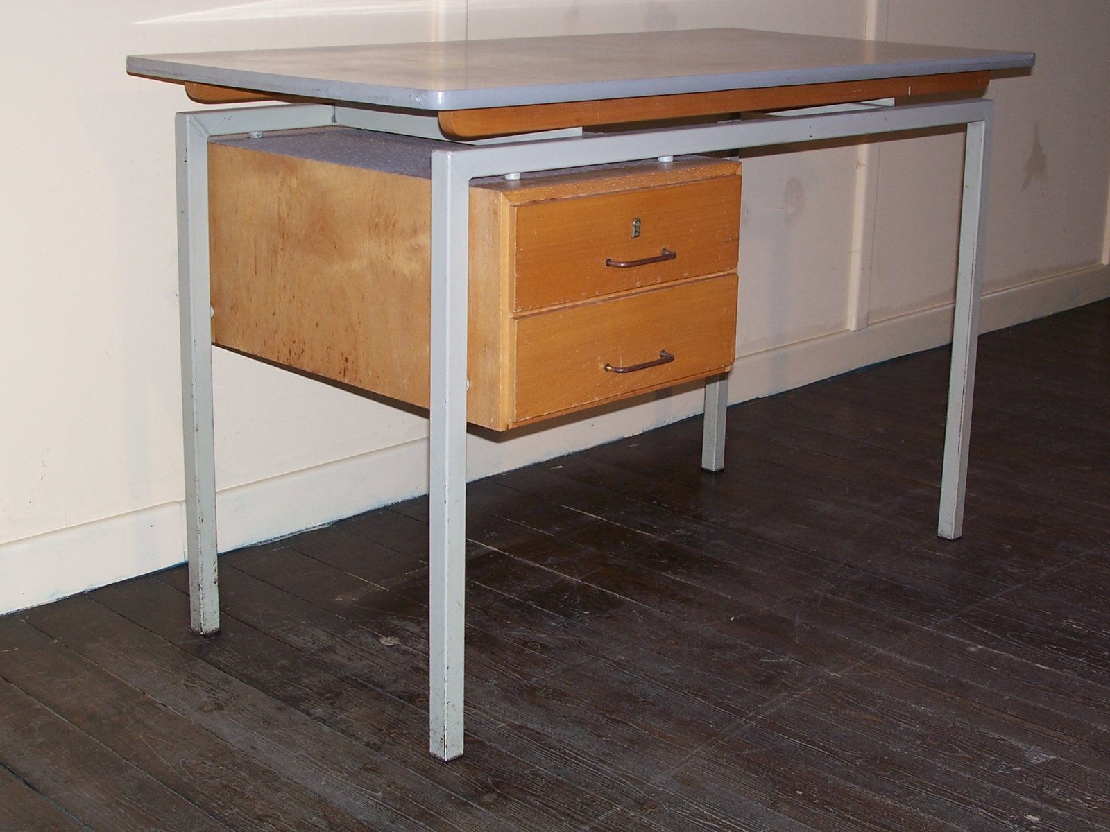 Vintage Desk with Formica Top and Wooden Drawers for sale at Pamono