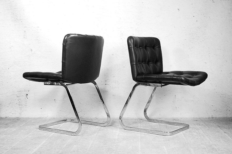 italienische bauhaus st hle aus schwarzem leder 1950er. Black Bedroom Furniture Sets. Home Design Ideas