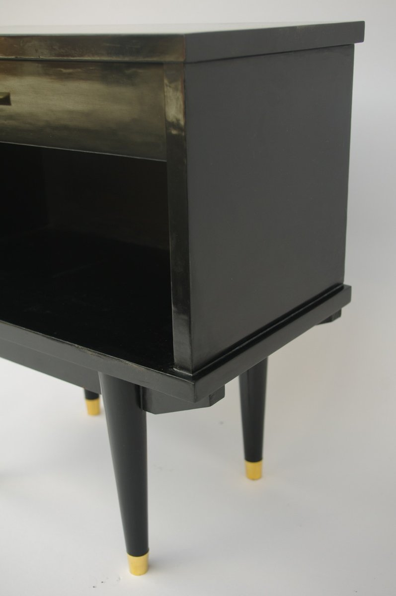 Design Lacquered Furniture night stands in black lacquered wood 1950s set of 2 for sale at 2