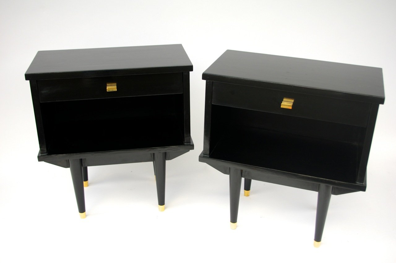 Night Stands in Black Lacquered Wood 1950s Set of 2 for sale at